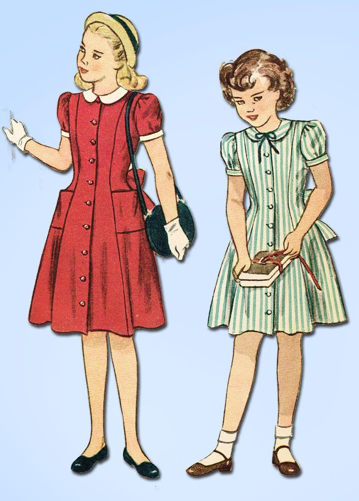 1940s Vintage Simplicity Sewing Pattern 2194 Uncut Girls Princess Dress Size 12