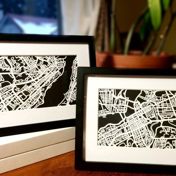 Paper cut map of Quebec City, QC 4x6 & Ottawa, ON 4x6 by CUTdesignsrt on Etsy