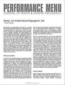 Dallas Hartwig's Sleep Article in the Performance Menu
