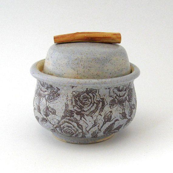 Lidded Jar   Spice Jar Chambray Rose   Hand  Thrown