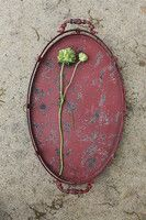 PUT CUP CAKES ON THIS. OR PAINT SOME I FIND CHEAPER RED.   Decorative Metal Oval Tray in Distressed Red with Handles.jpg