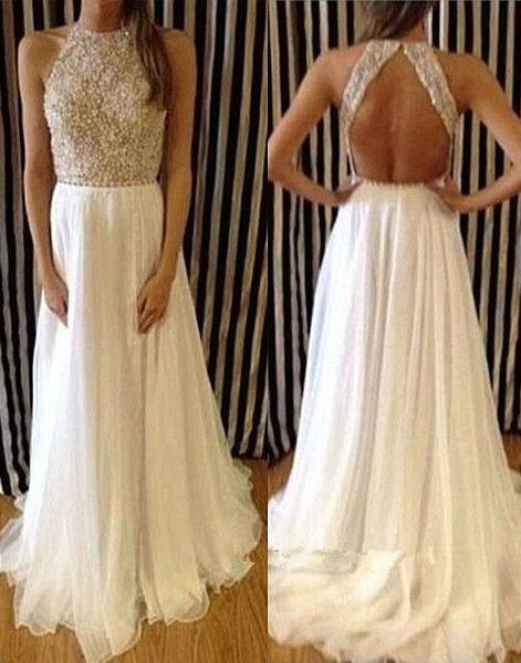 Pretty White Silk Chiffon Long Backless Prom Gown