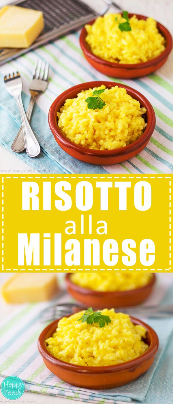 Risotto Alla Milanese - Typical Italian rice dish cooked in a broth (vegetable, chicken, seafood, etc). Quick and easy recipe for home cooking | happyfoodstube.com