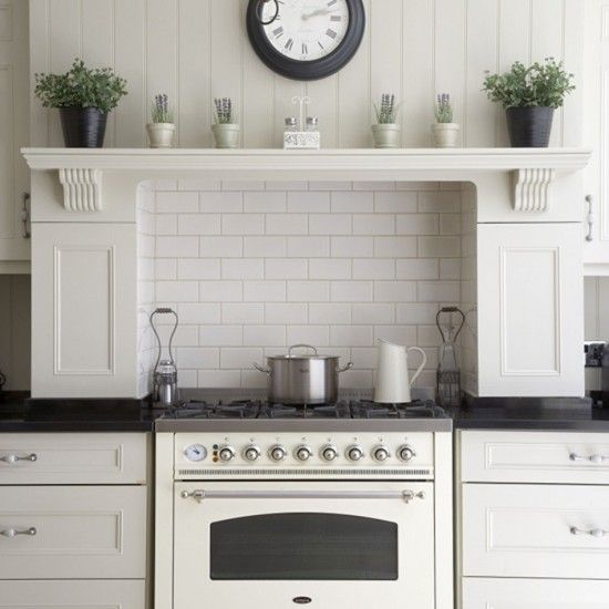 Elegant white kitchen with reeded corbels above the range cooker. Reeded corbels are available online, ready to be painted, at www.buycarvings.com