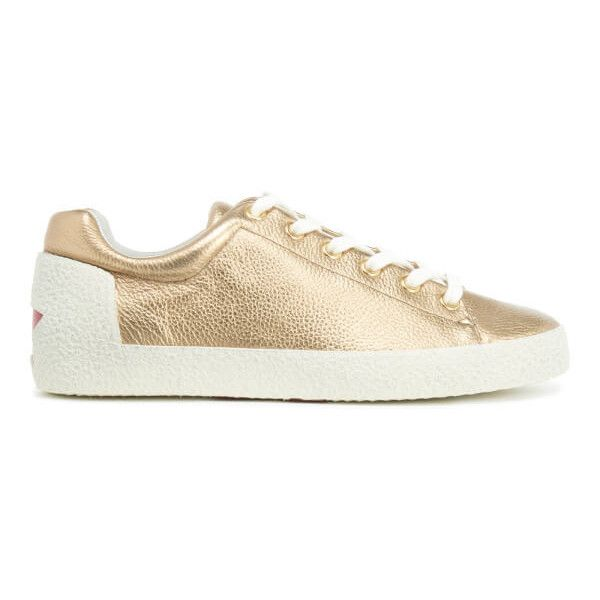 Ash Women's Nicky Bag Shimmer/Nappa Wax Trainers - Gold/Red ($145) ❤ liked on Polyvore featuring shoes, sneakers, gold, grip trainer, grommet shoes, red trainers, low profile sneakers and gold shoes