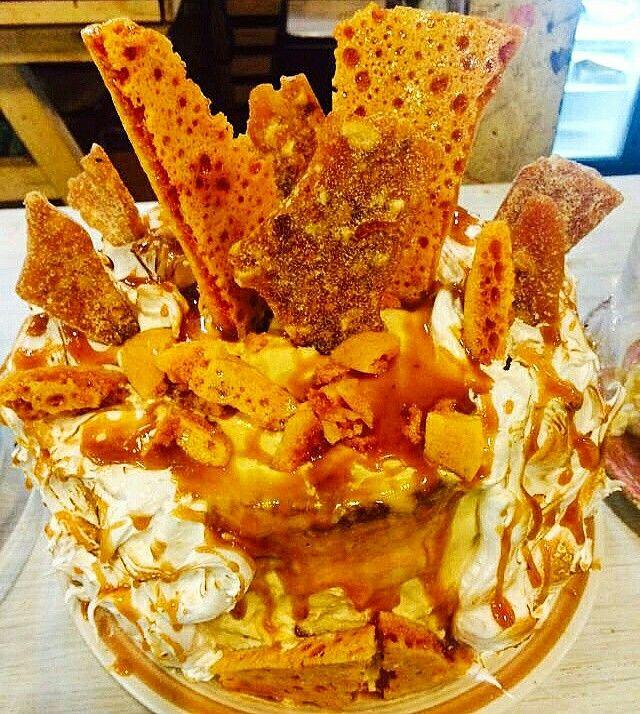 Carrot cake, honeycomb, Italian meringue, salted caramel, peanut brittle