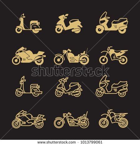 Stock Vector: Vintage motorbike and motorcycle icons set isolated on black background. Vector illustration -