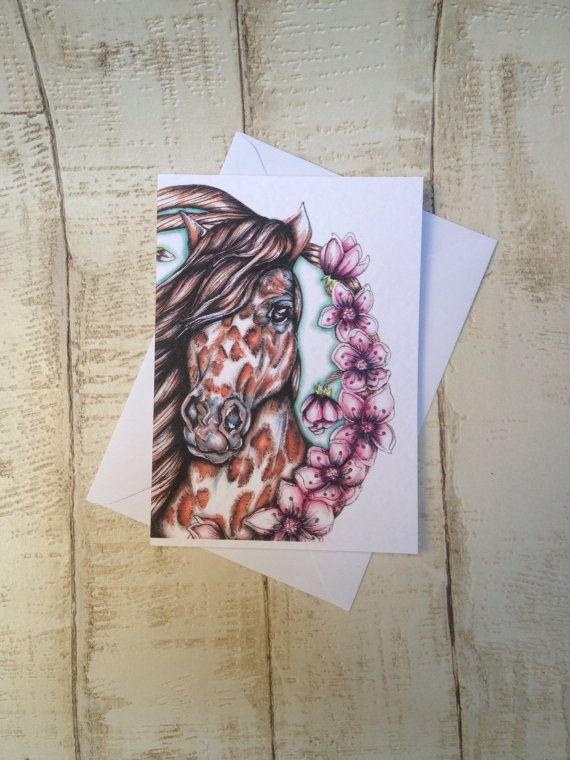 Horse, horse art, cherry blossom, appaloosa, equine art, equestrian art, horse print, horse sketch, horse drawing, pony, Rosehart Studio, Anna Emelia Howlett