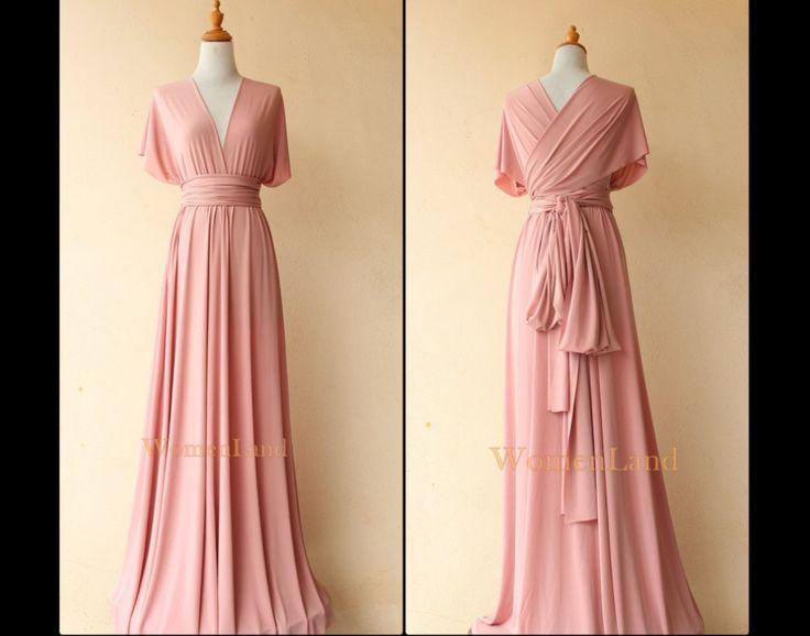 DRESS - Pastel Peach Fabric For Infinity Dress Convertible Bridesmaid Dress Floor Length Evening Gown Dress Plus Size Woman Dresses. 88.00, via Etsy.