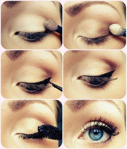 simple make up  I wish I had blue eyes.....<|3