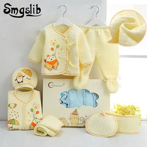 299e12bd80c 7pcs/lot Baby girl Clothes infant newborn clothes 0 3 Months Toddler girls  hat top Cotton baby boy outfit Baby Clothing Sets