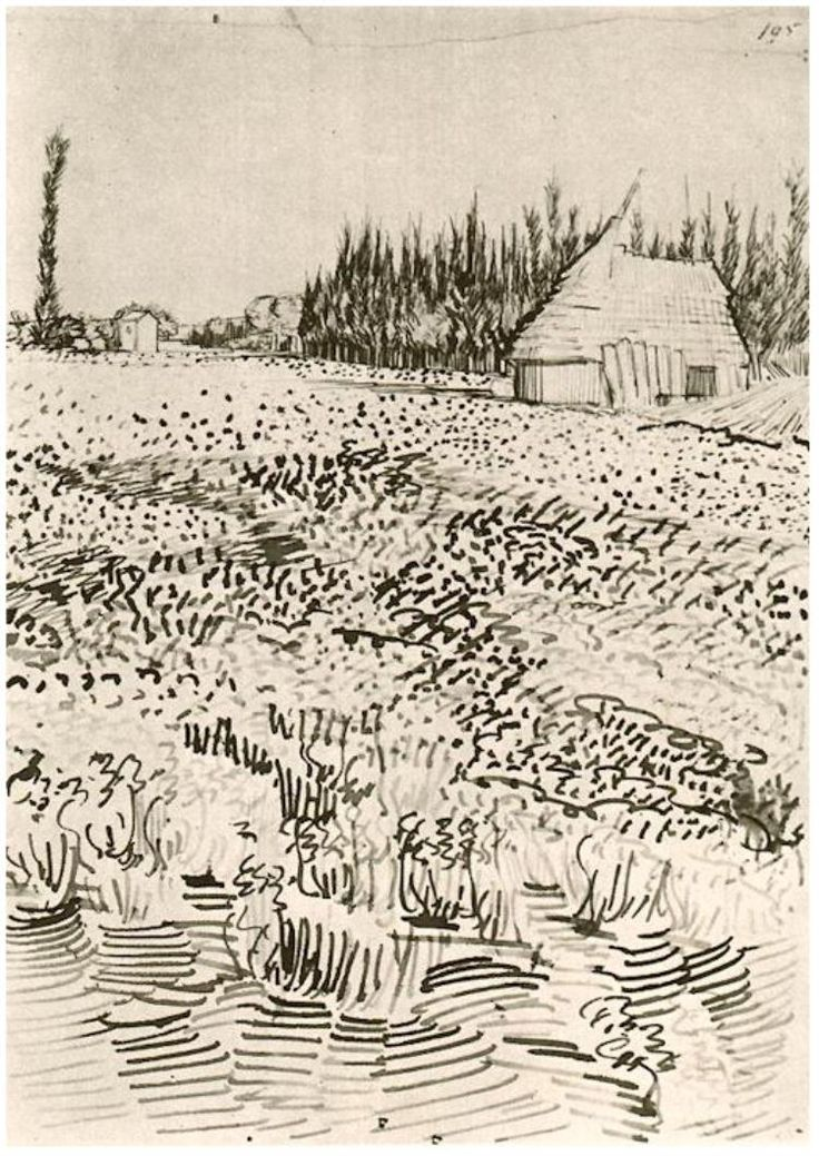 Drawing, Pencil, pen, reed pen, brown ink Arles: May 31 - June 4, 1888 Van Gogh Museum Amsterdam, The Netherlands, Europe Image Only - Van Gogh: Landscape with Hut in the Camargue