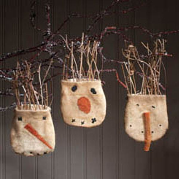 primitive christmas ornaments   Primitive Snowball Pocket Ornaments
