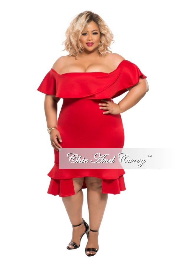 Plus Size BodyCon Dress with Off the Shoulder Ruffle in Red – Chic And Curvy