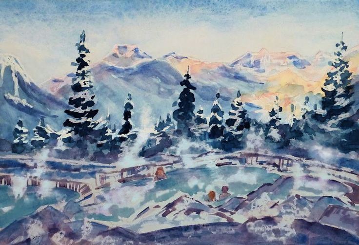 The Hot Pools at Hidden Ridge Watercolour and crayon ©2014 Charlene Brown, 1150 Words
