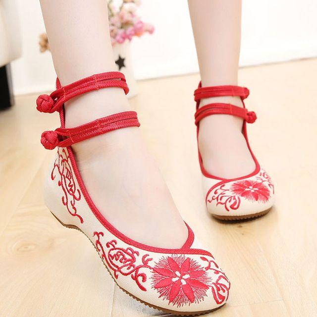 2015 nueva hebilla bordado chino para mujer de lona vieja Beijing zapato con la correa Causal zapatos de baile Sapatos Femininos Kz100
