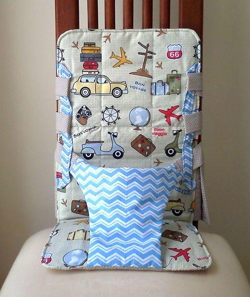 Cadeira de Alimentação Portátil. Pequeno Viajante.  100% algodão  Universal. * Para cadeiras com encosto, logo acima do assento, maior que 90 cm, adquira nosso acessório extensor.    Conheça a opção de Kit Cadeira + Babador    Leve na bolsa para qualquer lugar e garanta um almoço feliz com seu be...