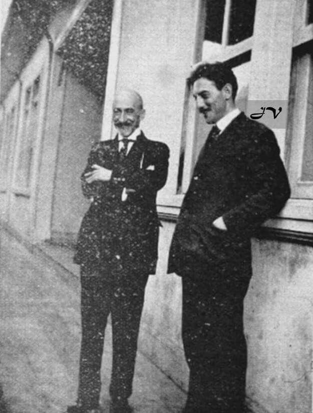 Jacinto Benavente y Omar Dengo en la Escuela Normal de C.R en Heredia 1923(ADIU)