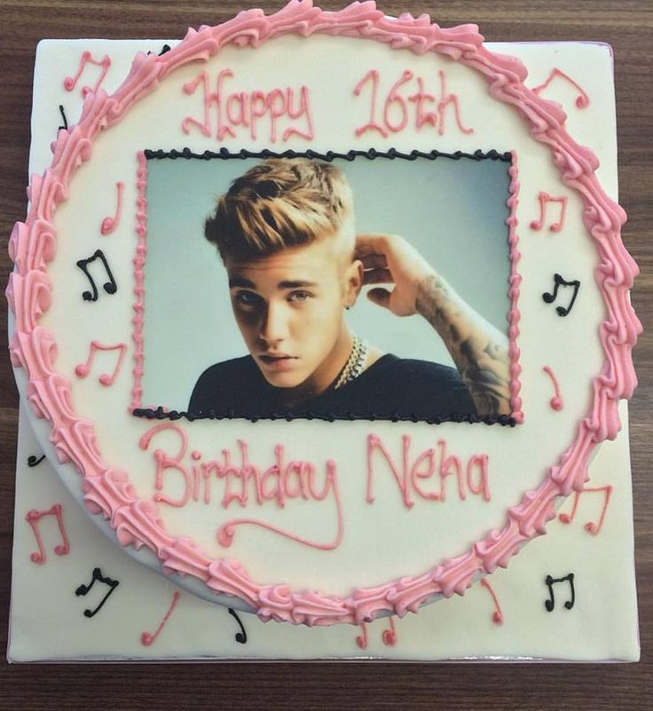 For all you Justin Bieber fans out there. A girly 1 tier cake printed with an image of Justin Bieber for a 16th birthday.