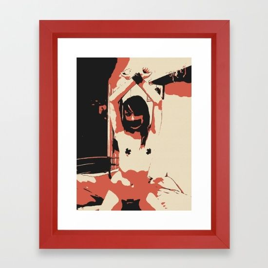 """Slave girl BDSM Bondage 5 Framed Art Print The Vector frame is made from solid wood with a contemporary, angular profile measuring 0.87"""" wide x 0.87"""" deep. A gesso coating gives the moulding rich color and a smooth finish. Premium shatterproof acrylic protects the art print, while an acid free dust cover on the back provides a custom finish. Includes wall hanging hardware. #sexy #bdsm #bondage #erotic #art"""