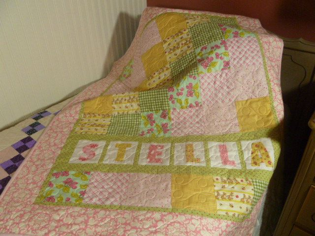 Custom Made Personalized Baby Girl Quilt w/Organic fabric. $128.00, via Etsy.
