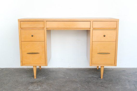 Blonde Mahogany Wood Symmetrical Desk With Brass Pulls Seven Drawers The Middle Drawer Containing A Pen Holder Wood Writing Desk Mid Century Modern Desk Desk