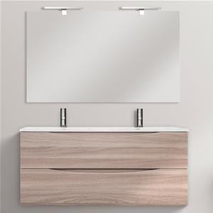 Mobile da bagno 120 cm lavabo doppio finitura rovere chiaro con specchiera