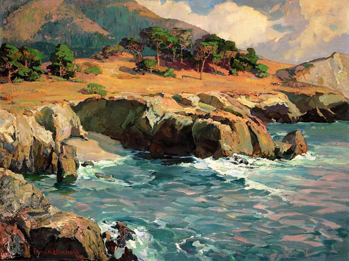 """Franz Anton Bischoff (1864-1929), """"Carmel Rocks at Sunset;"""" o/c, 30"""" x 40"""", Paul and Kathleen Bagley Collection"""