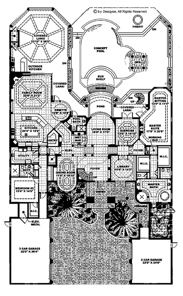 Mediterranean Floor Plan - Main Floor Plan Plan #1017-45