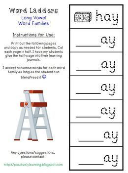 Word Ladders Long Vowels by Positively Learning | Teachers Pay Teachers