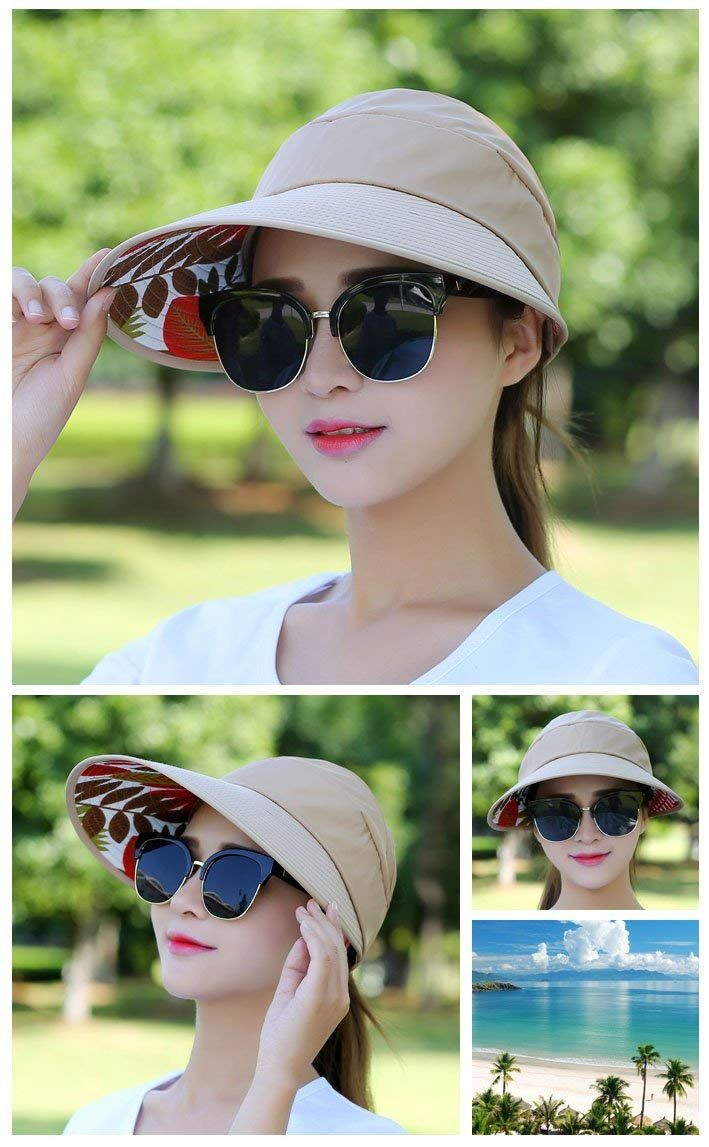 83ecfee8 $9.99 HindaWi Sun Hat Sun Hats for Women Wide Brim UV Protection Summer  Beach Packable Visor Black at Amazon Women's Clothing store: