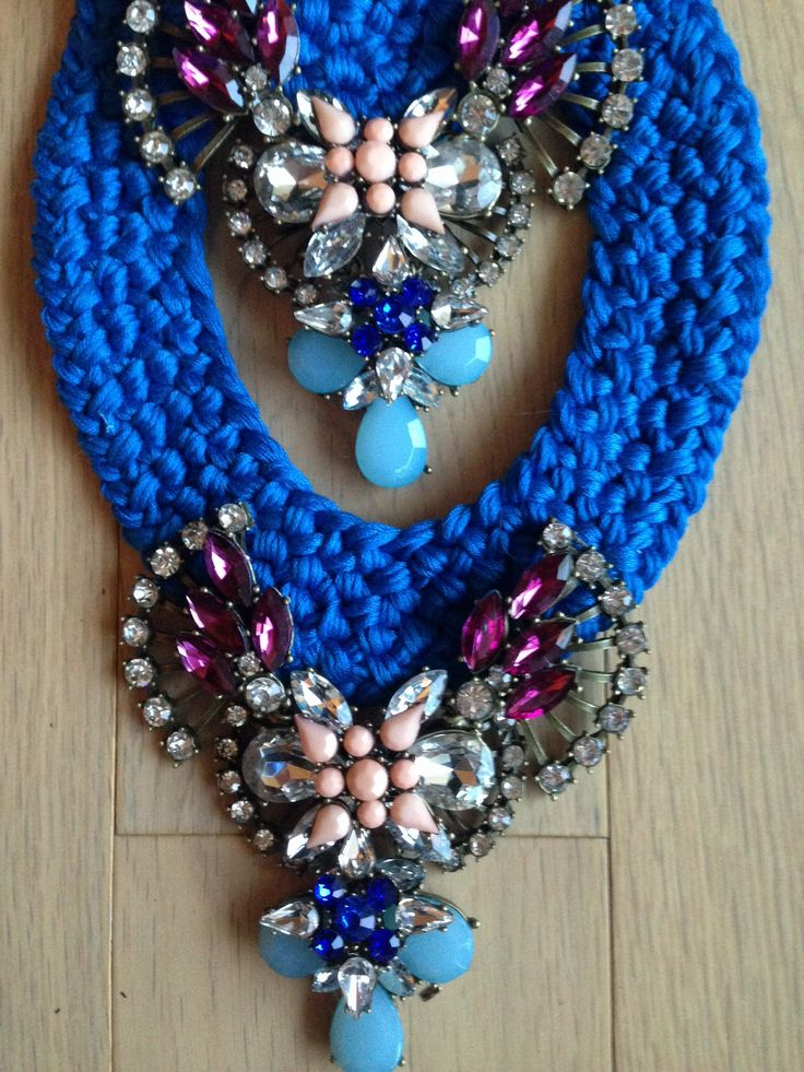 Star handmade statement necklace with electric blue and colored crystal stones.