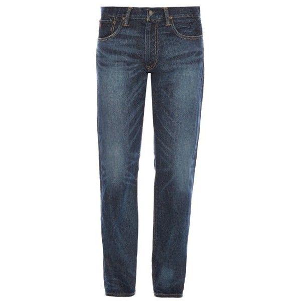 Polo Ralph Lauren Davis straight-leg jeans ($155) ❤ liked on Polyvore featuring men's fashion, men's clothing, men's jeans, blue, mens straight leg jeans, mens blue jeans, mens faded jeans, men's relaxed fit jeans and mens relaxed boot cut jeans