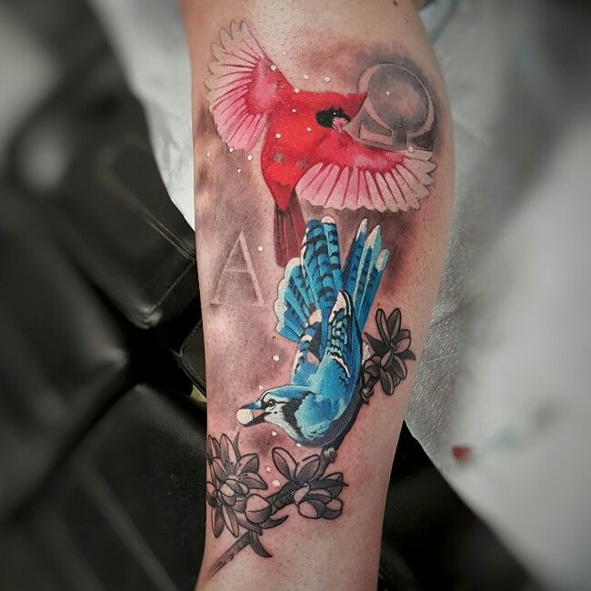 Bluejay cardinal bird tattoo