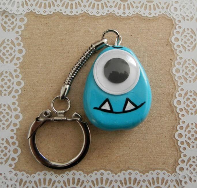 joli porte -clés monstre bleu : Porte clés par mandragou-et-berlurette