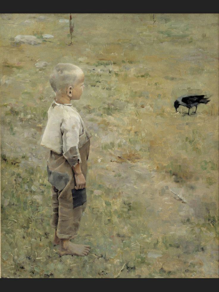 """Boy with a Crow"", 1884, Akseli Gallen-Kallela."
