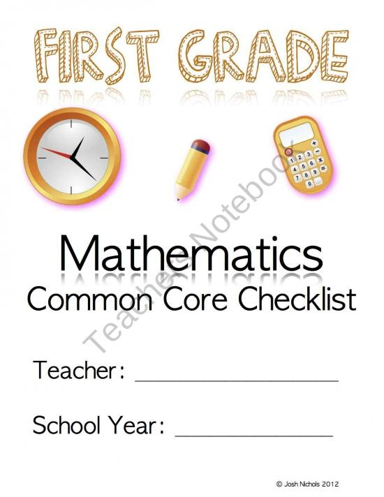 First Grade (1st Grade) CCSS Common Core Checklist and Report Document product from MrMathCoach Math Resource on TeachersNotebook.com