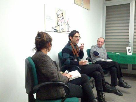 20 gennaio, Molfetta (Qui con Guglielmo Minervini). Presso la Casa Editrice La Meridiana, con Monica Filograno e Elvira Zaccagnino.