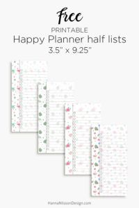 Happy Planner half list inserts | Free printable PDF download |
