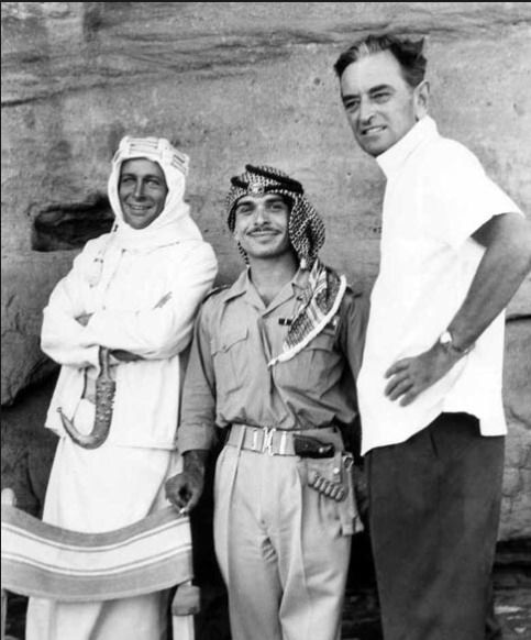 """Peter O'Toole and David Lean with King Hussein of Jordan during filming of """"Lawrence of Arabia."""""""