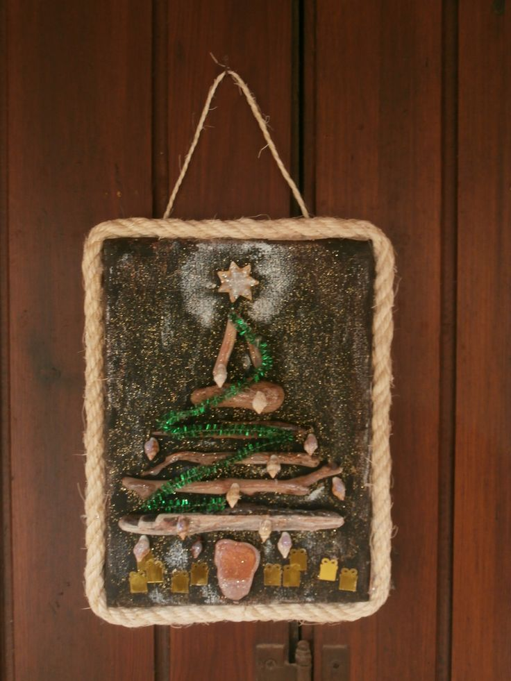 Driftwood Christmas Tree on Canvas Hanging Decoration