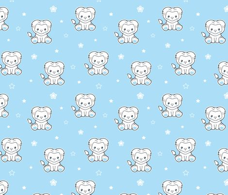 Cute lion cub and stars fabric by nossisel on Spoonflower - custom fabric