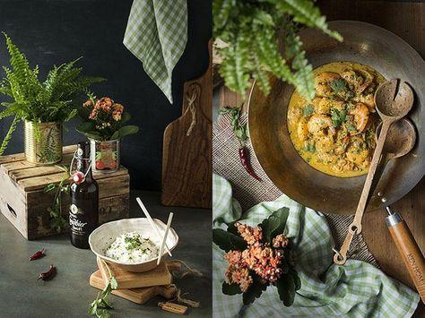 Langostinos en salsa de coco y jengibre con arroz thai