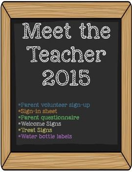 SUPER CUTE!!! Meet the Teacher printables. Welcome signs, parent volunteer sign-up, sign-in sheet, parent questionnaire, treat signs, and water bottle labels.  Host the perfect open house!!!!