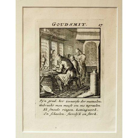 Alkuperäinen kuparipiirros 1700-luvun alusta. Kuva esittää käsityöläisammattia kultaseppä.  Jan Luyken, Het Menselyk Bedryf   / The Book of Trades Kuparipiirros on uudelleen kehystetty.