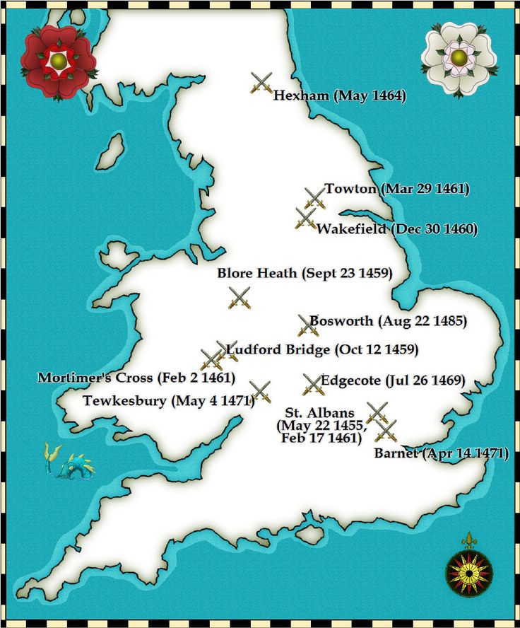 The battles which were fought during The Wars of The Roses~  1455: The First Battle of St Albans 1460: Battle of Northampton 1460: The Battle of Wakefield 1471: Battle of Barnet 1471: Battle of Tewkesbury 1485: Battle of Bosworth Field