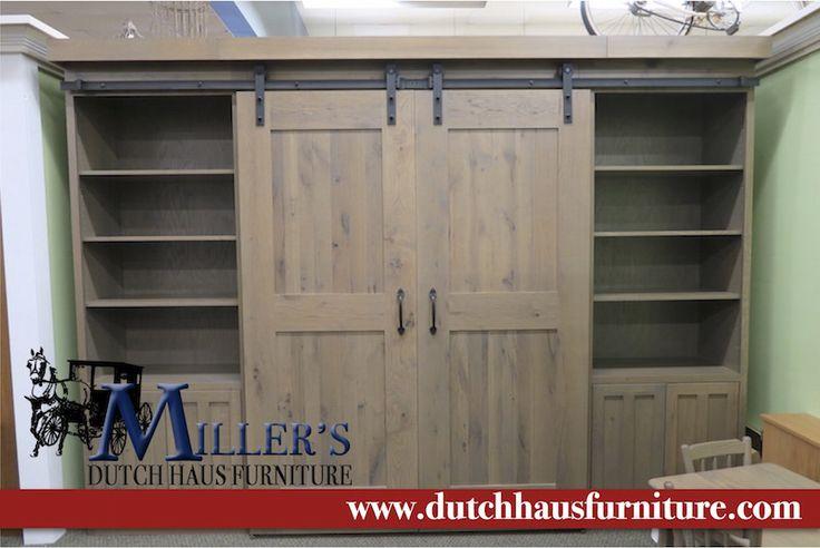 Barn Door Murphy Bed Rustic Oak/Driftwood Stain Queen Size mattress