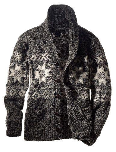 Mens Nordic Shawl Collar Ski Cardigan. Nothing wrong with cardigans for men!