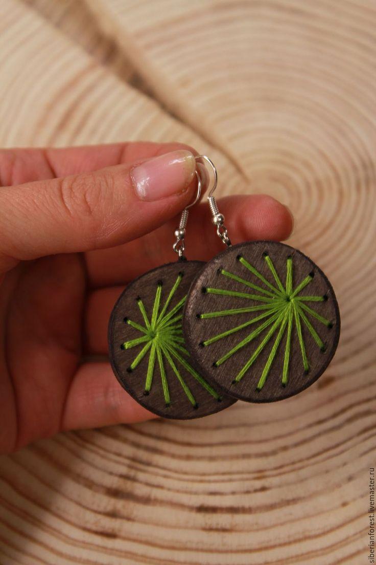 Wooden earrings with embroidery   Купить Серьги из дерева с вышивкой - коричневый, дерево, украшения из дерева, серьги, серьги из дерева