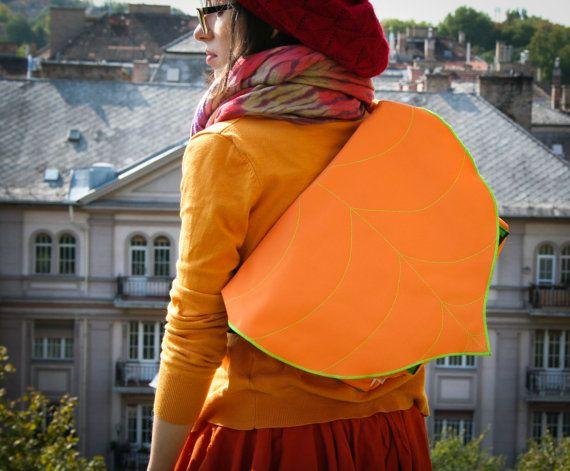Orange  Green Leaf Bike Messenger Bag Waterproof by LeaflingoOo, $73.00